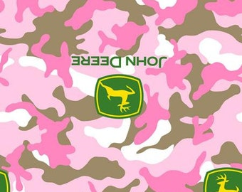John Deere Pink Camo  100 percent cotton fat quarter 18'' x 22''     only 3.99