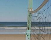 Beach Volleyball Fine Art Photography Sport Net Blue Mint Green Ocean Waves Florida Sand Tropical Coastal Nautical Home Decor Wall Art
