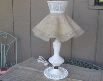 Vintage White Hobnail Milk Glass Working Lamp White Glass Shabby Chic Country Lamp - White Bubble Table Accent Lamp Base  and Shade