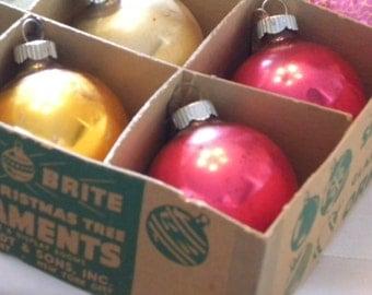 "Vintage~SHINY BRITE~Glass Christmas Tree Ornaments~2.0 ~ 2.25"" // One Dozen Holiday Decor // Tree Trimming"