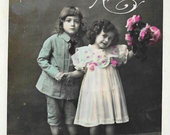 "Two Children with Flowers, ""Bonne Annee"" Postcard, Original  - Vintage RPPC Postcard, Real Photo Postcard, Hand Tinted Postcard"