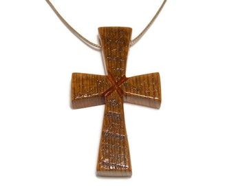 Cross Necklace, Barnwood Cross, Men's Necklace, Medium Cross Necklace, Gifts Under 20