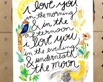 Large Art Print, Kids Room Art, Kids Room Decor, Art for Children, Nursery Decor, Skidamarink, I love you in the morning, Art for Boys Room