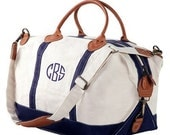Personalized Canvas Weekender  Bag with Navy Trim Embroidered