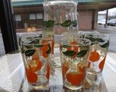 Breakfast Juice Set/Pitcher and Six Juice Glasses