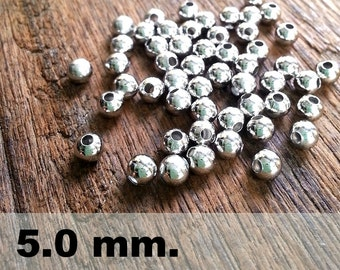 50 Pcs (5.0mm) Silver Brass Beads - Round -Brass Spacer-