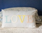 Love Pillow Custom Pillow Cover 12x20 Pillow Personalized Gift for Her Colorful Pillow Cotton Pillow Merino Wool Felt Nursery Decor