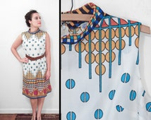 1960s OP ART Dress // Mod Design Sleeveless Shift // Medium Sky Mustard Pumpkin