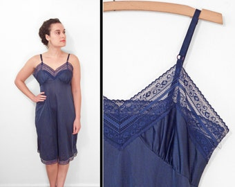 Sapphire Blue Slip 1970s // Sears Nylon Lacy // Size 34 Navy Nightgown