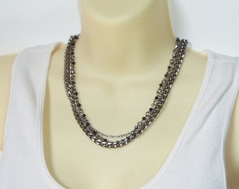 Triple Strand Chain Beaded Necklace - Chunky Thick and Thin Gunmetal Chains, Black Beaded Multiple Chain Choker Necklace