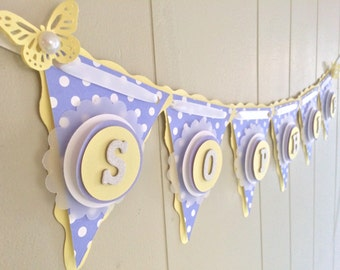 Girl Baby Shower Banner, Baby Shower Decor, Personalized Baby Shower Banner, Lavender Baby Banner, Polka Dot Banner, Purple and Yellow Banne