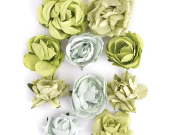 Paper Blooms flowers by Kaisercraft - Set of 10 - Olive - Embellishment