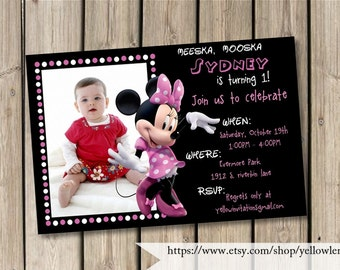 """Pink Minnie mouse birthday day party invitation """"POLKA DOT MINNIE"""" pink, Minnie mouse, Printable Invitation, Classic Minnie, First birthday"""