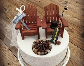 Rustic Fishing Wedding Cake Toppers Topper Cabin Chairs Fisher