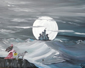 old castle, wolfhound, catherine heathcliff, fantasy art, fine art, moon over castle, acrylic
