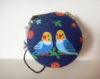 Lovely budgies macaron coin case / blue