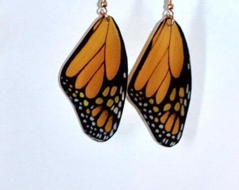 Monarch butterfly earrings, Handcrafted Jewelry, 14 k gold, Sterling Silver, Dangled earrings, fish hook earrings, Orange and Black