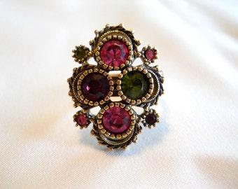 Sarah Coventry Ring, Austrian Lites Ring, Sarah Cov Adustable Rhing, Pink, Purple and Green Rhinestones