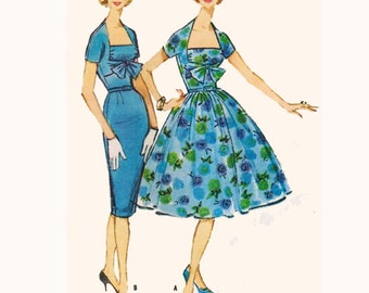 1950s Style Shelf Bust Dress with Shrug Sleeves Pencil or Full Gathered Skirt Custom Made in Your Size From a Vintage Pattern