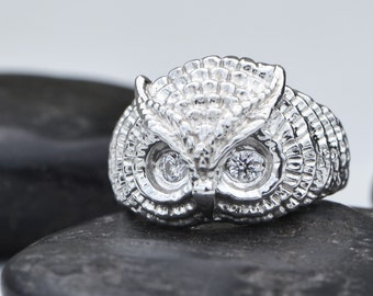 Owl Ring, Silver Owl Jewelry, Bird Ring, Sterling Silver Owl Ring, Gemstone Owl, Sterling Owl, Gemstone Eye Owl