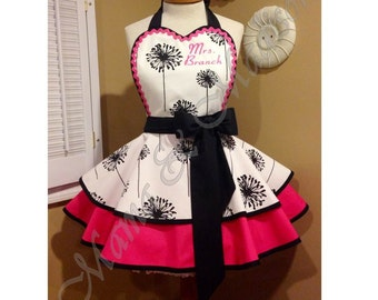 Dandelion Print Woman's Retro Apron Accented In Hot Pink, Featuring Custom Embroidered Heart Shaped Bib
