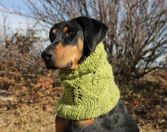 Knitting Pattern For Medium Sized Dog : Lacey Leaf Dog Snood PATTERN for size medium to large dog