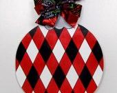 Christmas Ornament Door Hanger, Christmas Door Hanger,  Red and Black Ornament, Winter Door Hanger, Harlequin Ornament