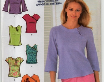Woven And Knit Tops Sleeveless Short Below Elbow Sleeves Neckline Variations Size 6 8 10 12 Blouse Or Shirt Sewing Pattern Simplicity 4541