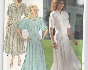 Ronnie Heller Semi Fitted Flared Dress With Shoulder Pads Princess Seams Size 12 14 16 Sewing Pattern 1987 Butterick 4822 Plus Size