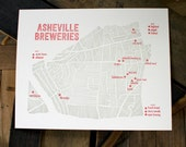 Asheville Beer Letterpress Map of Breweries - craft beer, asheville souvenir, handmade map, typography, for him, beer gift, rustic print