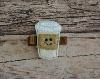 Coffee Drink Felt Hair Clip-Girl Hair Accessories-Embroidered Felt Happy Coffee Clippy Latte Cup-Hair Feltie Clippie-No Slip Grip