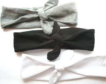 Turban Baby Headband Set in Black, Gray, and White