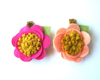 Flower Hair Clips - Peach and Hot Pink Flower Hair Clips