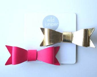 Hair Clips in Leather Hot Pink and Gold