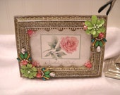 """RESERVED FOR TONI -Framed Jewery """"Pink Rose"""" Postcard  -  Birthday Wishes - Stunning Metal Frame"""