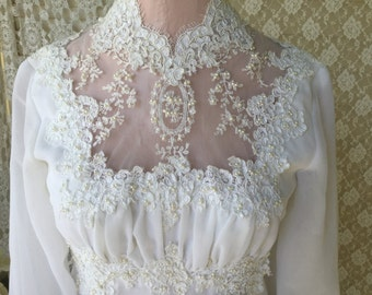 Victorian Style Wedding Dress, Lace and Pearl, Longsleeve winter wedding gown, shabby boho chic wedding , bridal gown, fanny pippin
