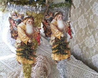 Shabby Victorian Tussie Mussie, Candy Cone holder, victorian Santa Claus, farmhouse Christmas, gift holder, fanny pippin