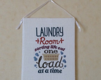Sorting Out Life One Load  At A Time laundry room wall hanging machine embroidery