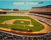 Chrome Postcard, Dodger Stadium, Los Angeles Dodgers, Los Angeles, California, ca 1965