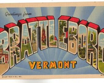 Linen Postcard, Greetings from Brattleboro, Vermont, Large Letter