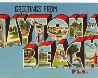 Linen Postcard, Greetings from Daytona Beach, Florida, Beaches, Ocean, Large Letter