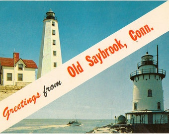 Chrome Postcard, Greetings from Old Saybrook, Connecticut, Inner and Outer Lighthouses