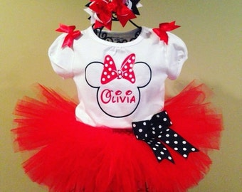 Girls Minnie Mouse Birthday Tutu Outfit Minnie Mouse Shirt Red Minnie Mouse Disney Shirt Minnie Birthday Shirt Minnie Shirt