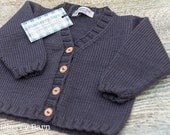 Hand Knit Baby Cardigan - V-Neck  - choose size/colour - luxury Merino/Cashmere blend yarn, handmade baby clothes