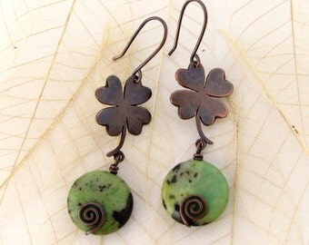 Four Leaf Clover Earrings with Chrysoprase Dangle Antiqued Copper Earrings