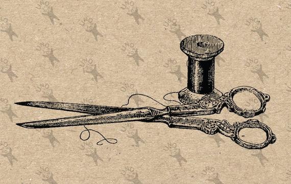 Vintage Scissors Drawing