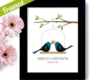 Unique Engagement Gift Personalized Wedding Gifts Couple Framed Art Lovebirds Art Print for Couples Bridal Shower