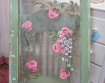 Hand Painted Vintage Window Pink Roses Shabby Chic Beach Farmhouse Chic Architectural Salvage