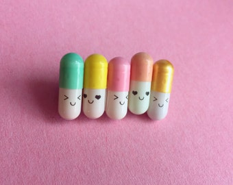 Happy Pills Brooch Pastel (2 color options available)