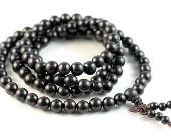 8mm 108PCS Indonesia ebony Blackwood Prayer Buddha Mala Meditation Beads Round Loose Beads BULK LOT (90182456-392)